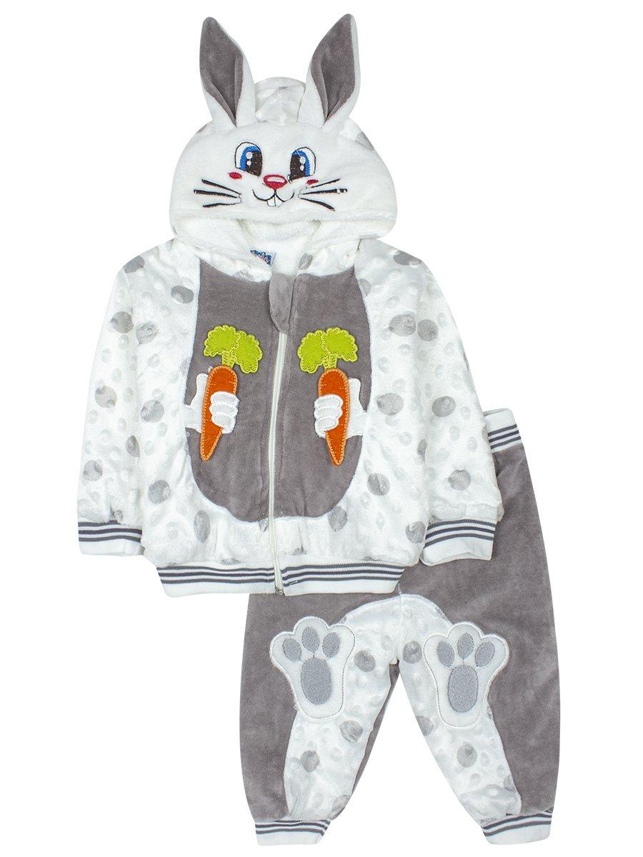 Комплект велюровый на махровой подкладке детский, цвет: серый