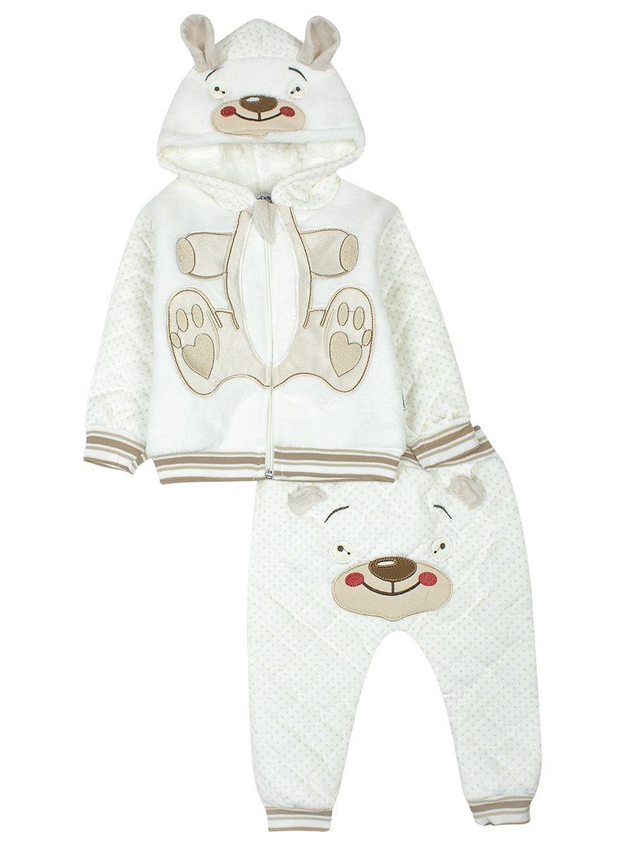Комплект велюровый на махровой подкладке детский, цвет: молочный