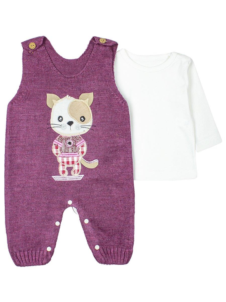 Комплект детский: кофточка и полукомбинезон., цвет: фиолетовый