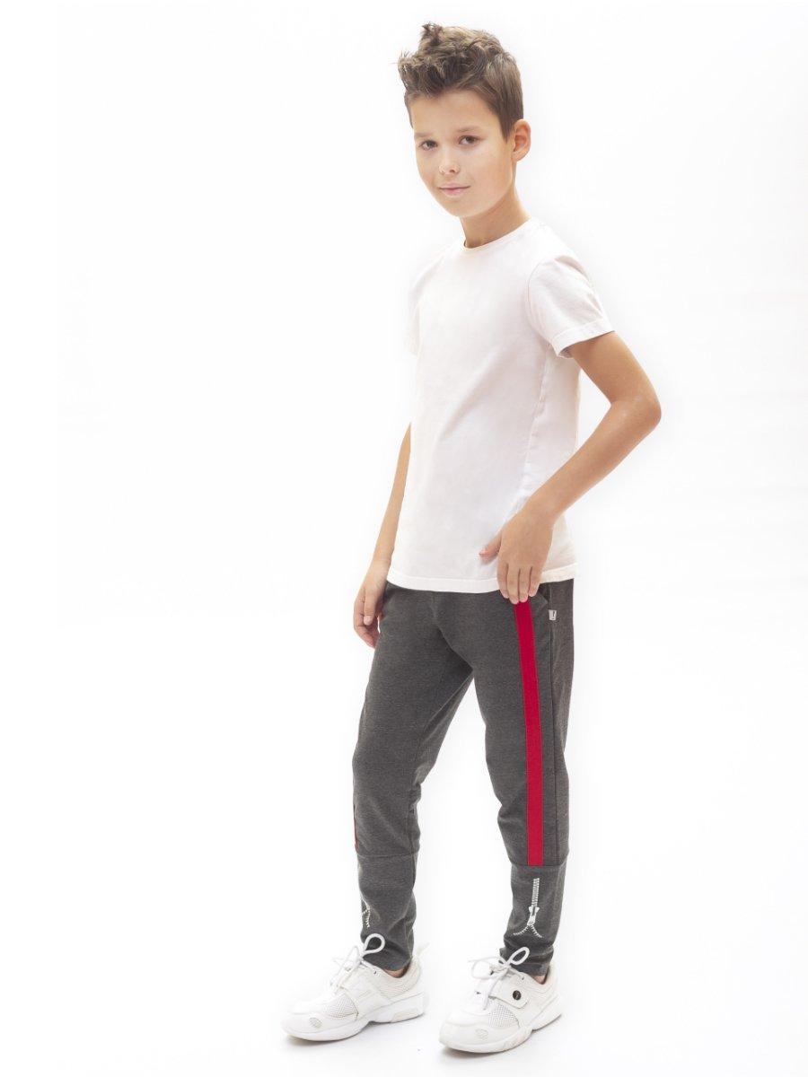 Брюки спортивные зауженные для мальчика, цвет: темно-серый