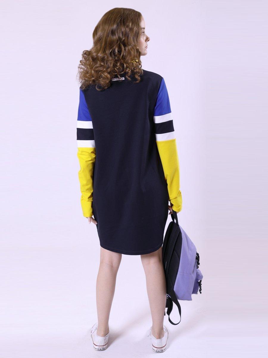 Платье из футера, цвет: темно-синий