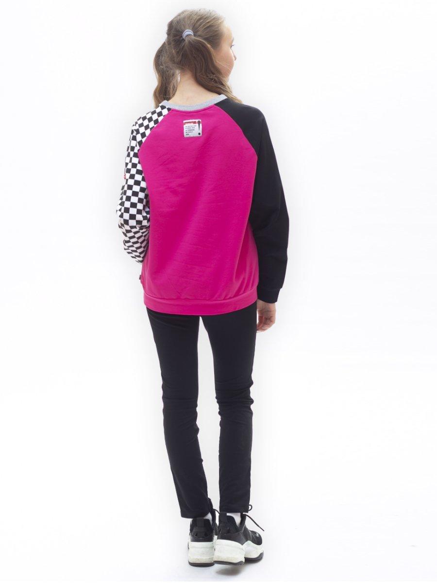 Свитшот для девочки из футера 2-х нитки, цвет: фуксия
