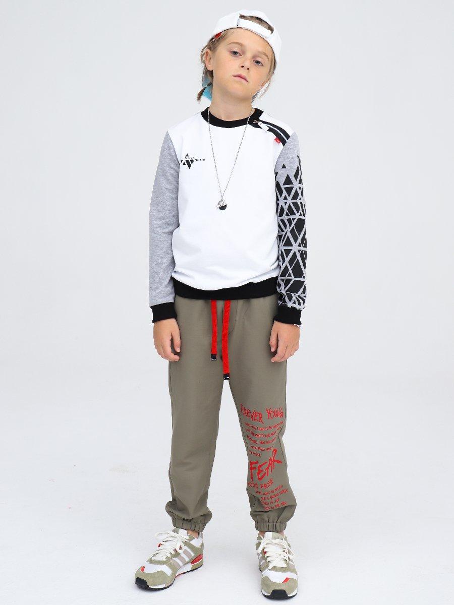 Свитшот для мальчика, цвет: белый,серый