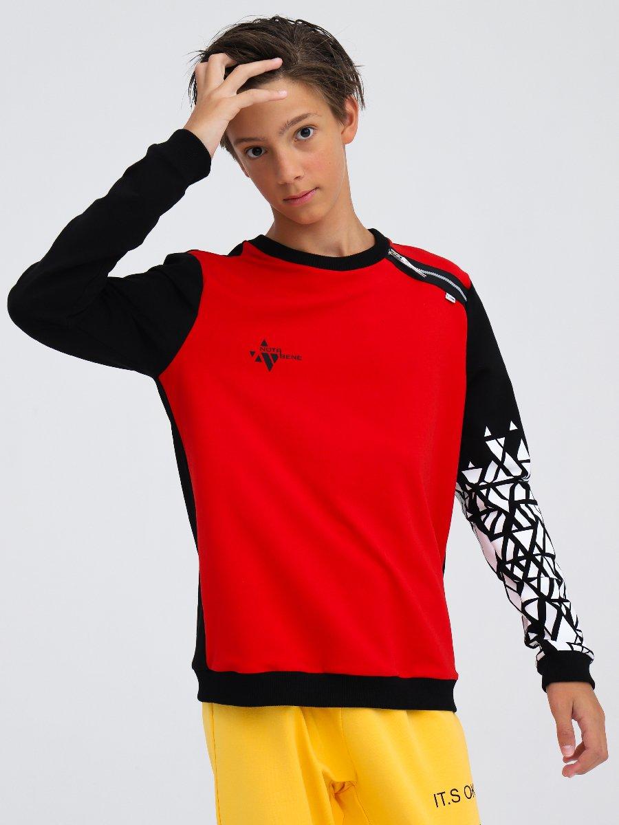 Свитшот для мальчика, цвет: красный,черный