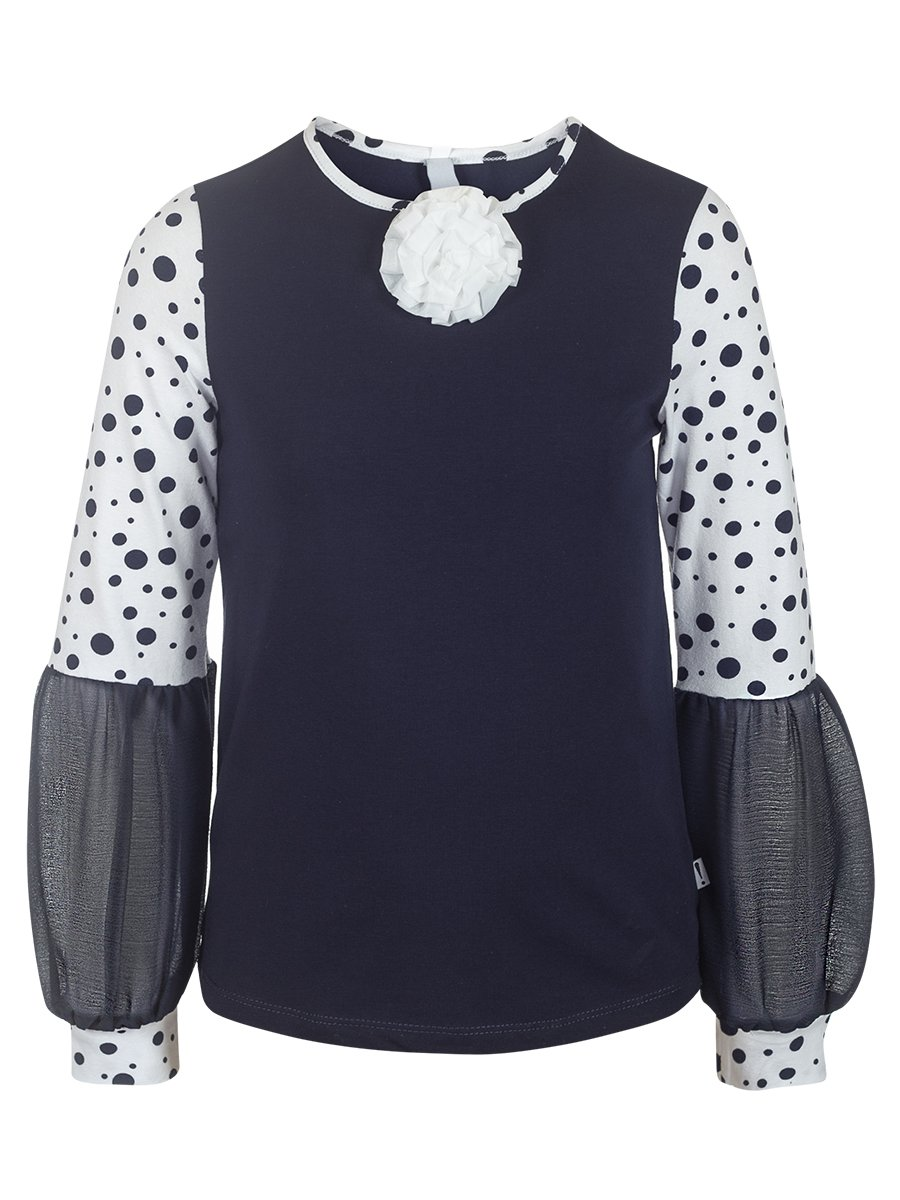 Блузка трикотажная из кулирки с лайкрой и шифона, цвет: темно-синий