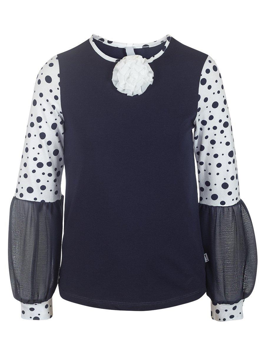 Блузка трикотажная из кулирки с лайкрой и шифона, цвет: горох