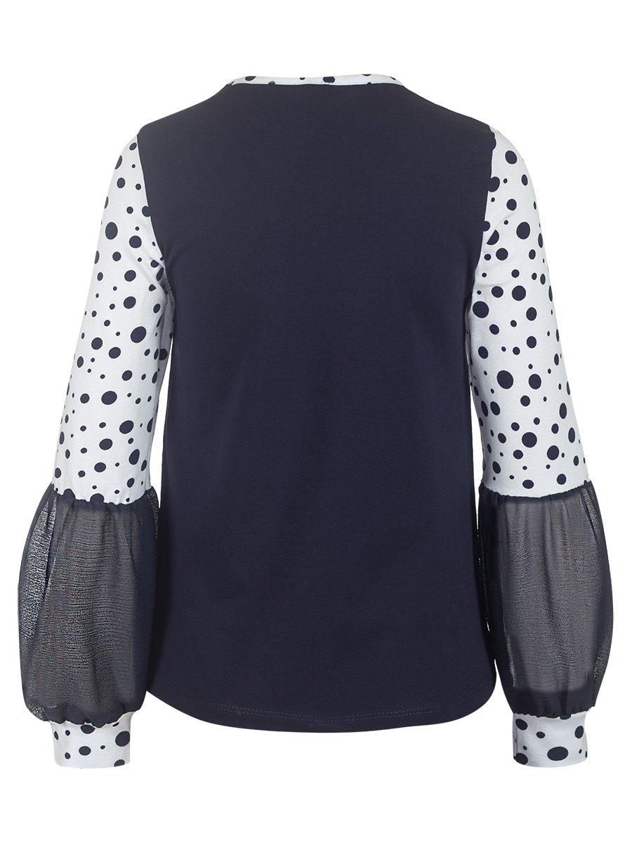 Блузка трикотажная из кулирки с лайкрой и шифона, цвет: синий с белым