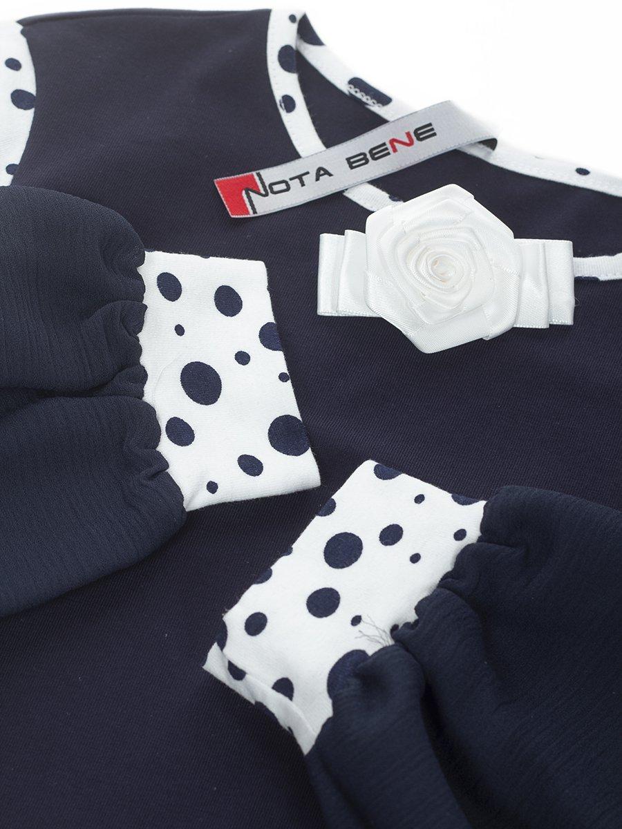 Блузка трикотажная из кулирки с лайкрой и шифона, цвет: темно-синий с горохом