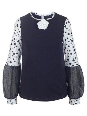 Блузка трикотажная из кулирки с лайкрой и шифона