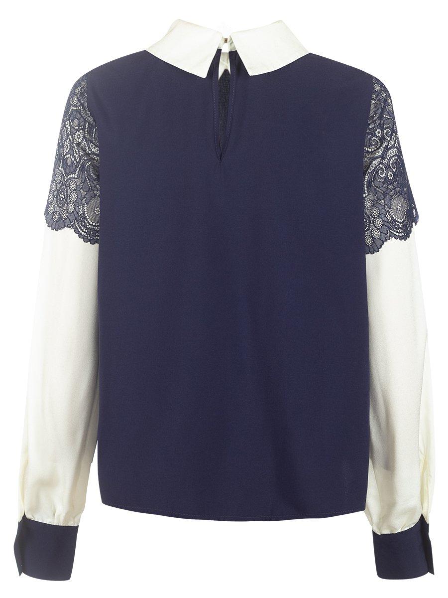 Блузка из искусственного шелка с нижней майкой из хлопка, цвет: темно-синий