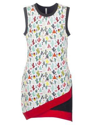 Платье с ассиметричным из кулирки с лайкрой