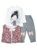 Комплект для девочки: кофточка, штанишки и жилет.