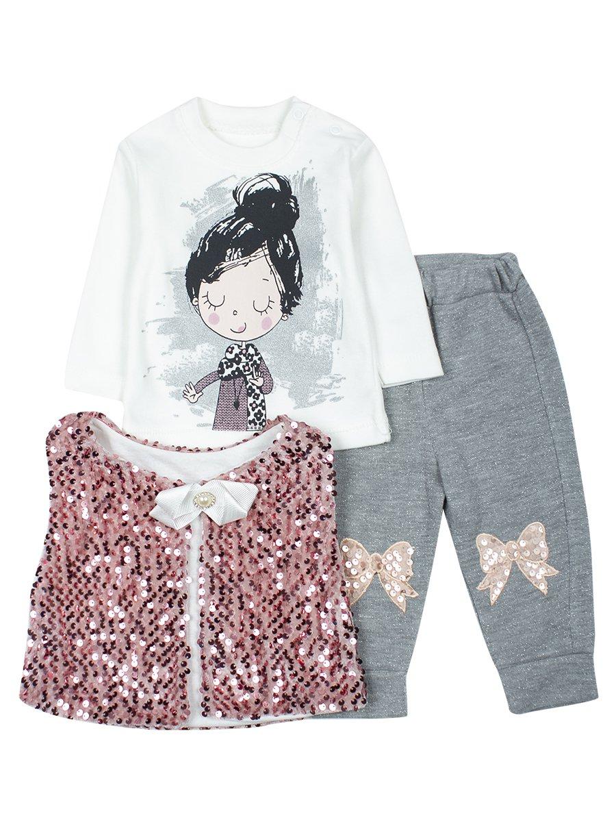 Комплект для девочки: кофточка, штанишки и жилет., цвет: розовый