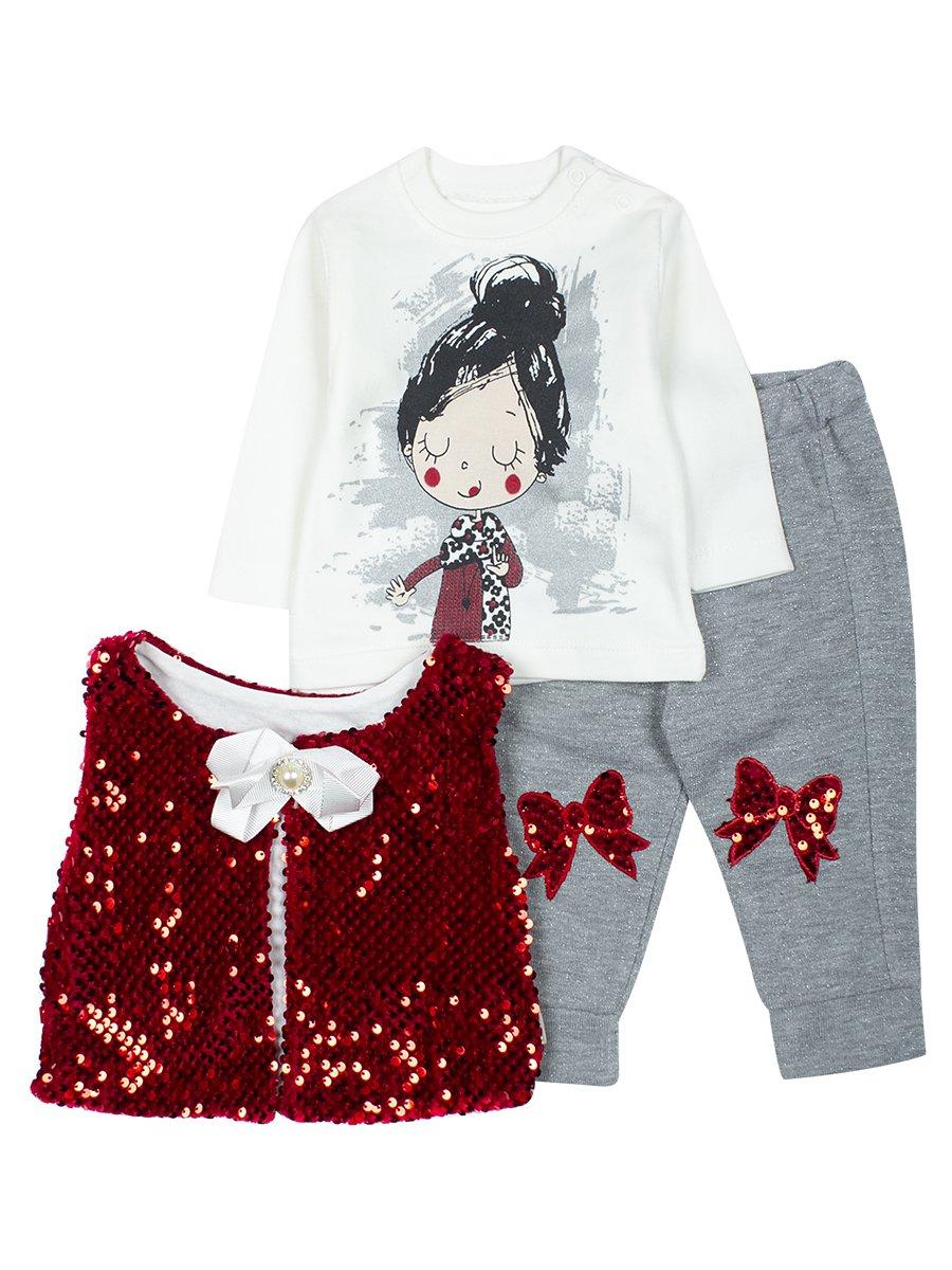 Комплект для девочки: кофточка, штанишки и жилет., цвет: красный