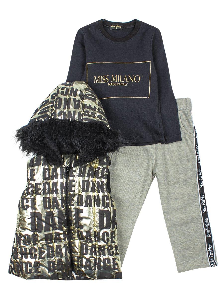 Комплект для девочки:жилет болоньевый,толстовка и штанишки, цвет: золотой