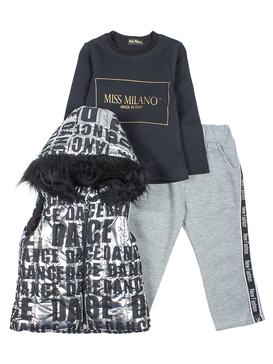 Комплект для девочки:жилет болоньевый,толстовка и штанишки, цвет: серебряный