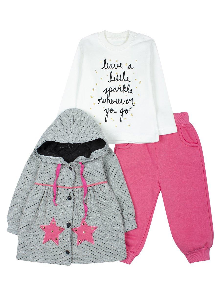 Комплект для девочки с начесом, цвет: розовый