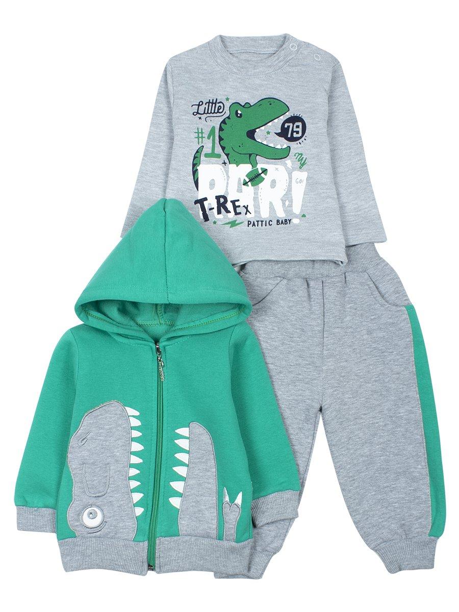 Комплект с начесом для мальчика, цвет: зеленый