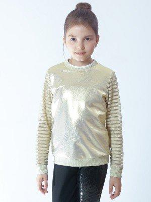 Свитшот для девочки из футера с напылением и ткани с люриксом