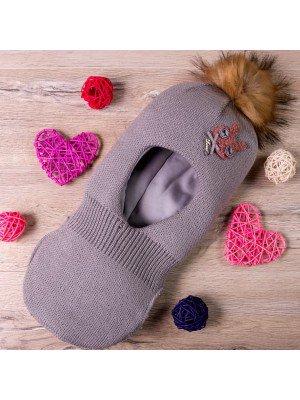 Шапка-шлем вязаная на синтепоне для девочки
