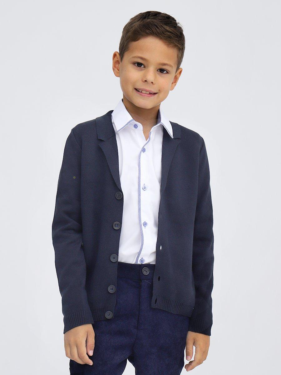 Кардиган вязаный для мальчика, цвет: синий