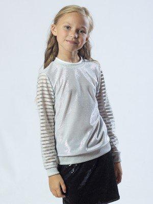 Свитшот для девочки из футера 2-х нитка и трикотажа с люриксом