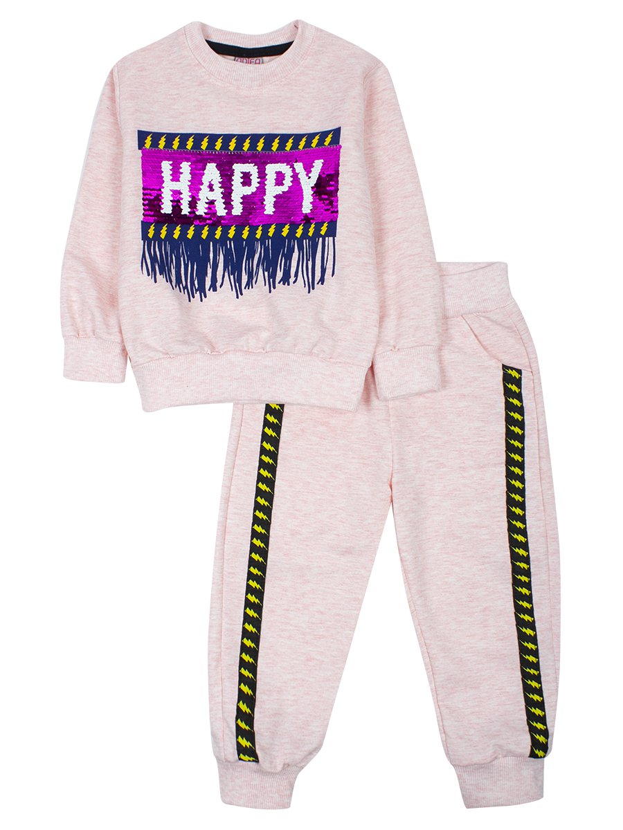 Комплект для девочки:толстовка и штанишки, цвет: пудра