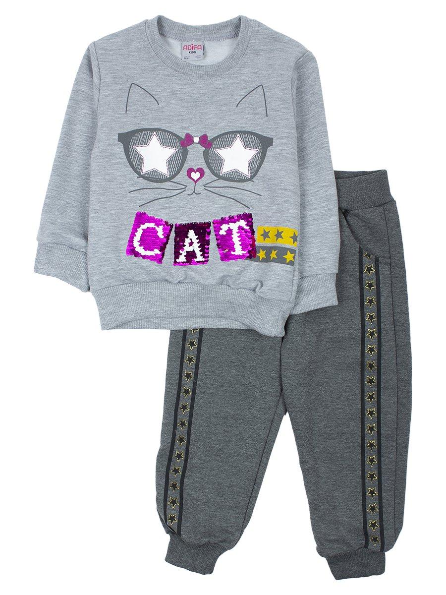 Комплект для девочки:толстовка и штанишки, цвет: серый меланж