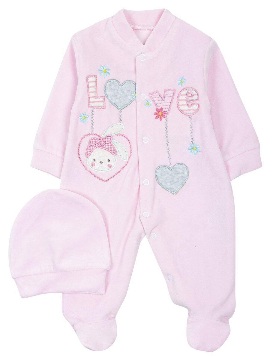 Комбинезон велюровый для девочки, цвет: светло-розовый