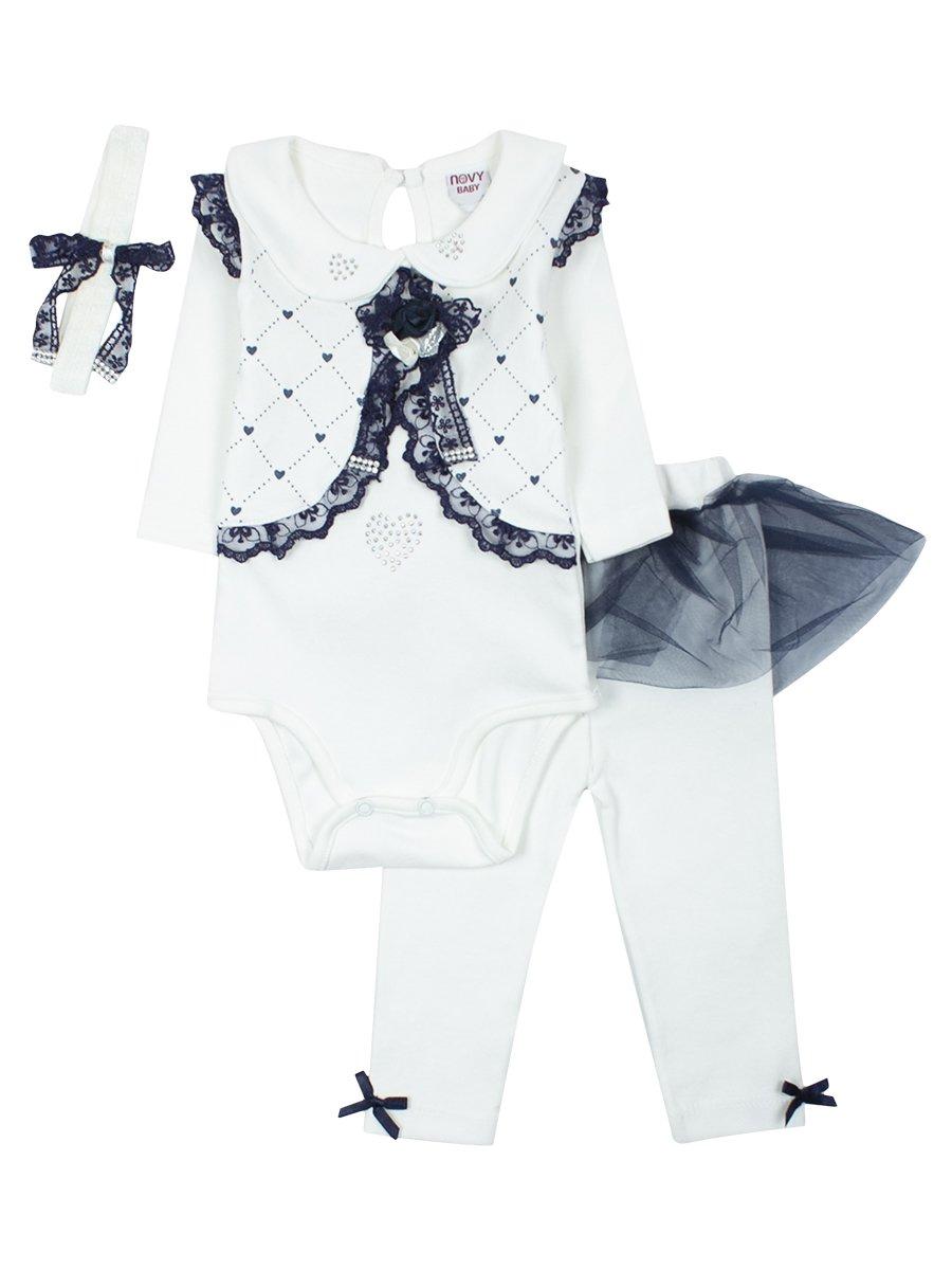Комплект для девочки: боди, ползунки, повязка на голову. Отделка-гипюр и сетка