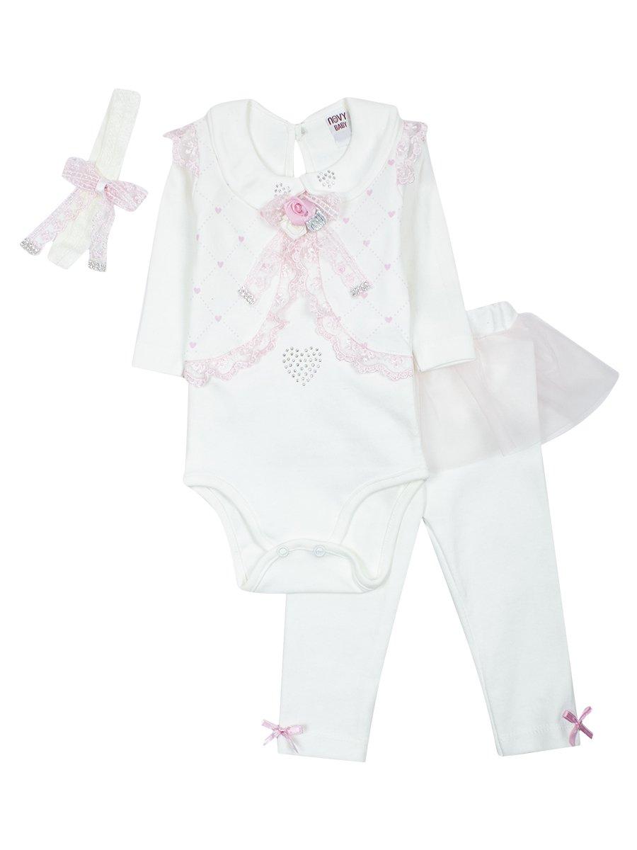 Комплект для девочки: боди, ползунки, повязка на голову. Отделка-гипюр и сетка, цвет: светло-розовый