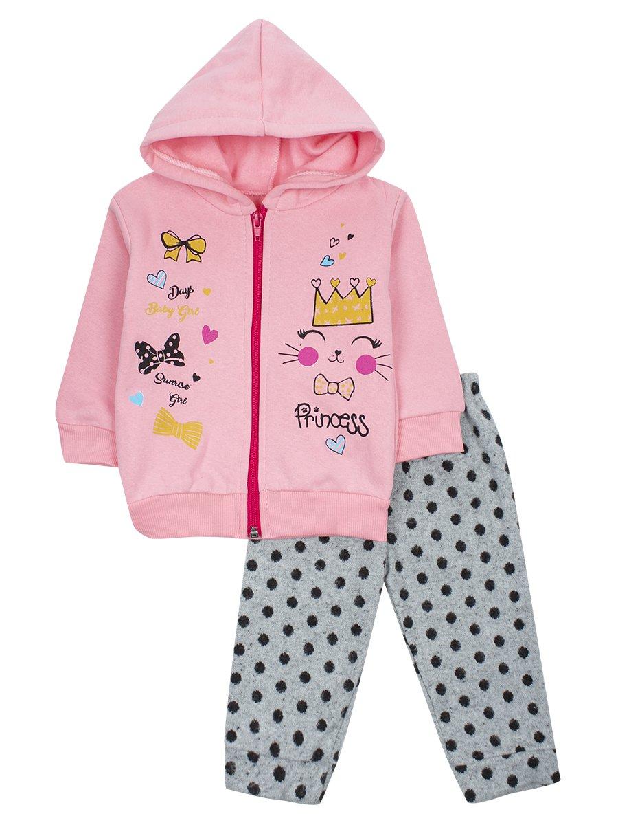 Комплект с начесом для девочки, цвет: светло-розовый