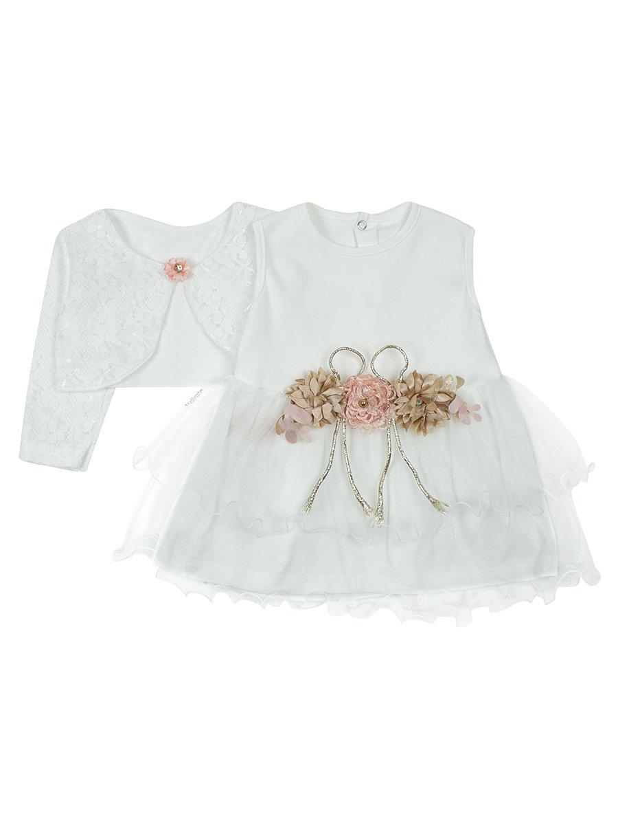 Комплект для девочки платье и болеро., цвет: молочный