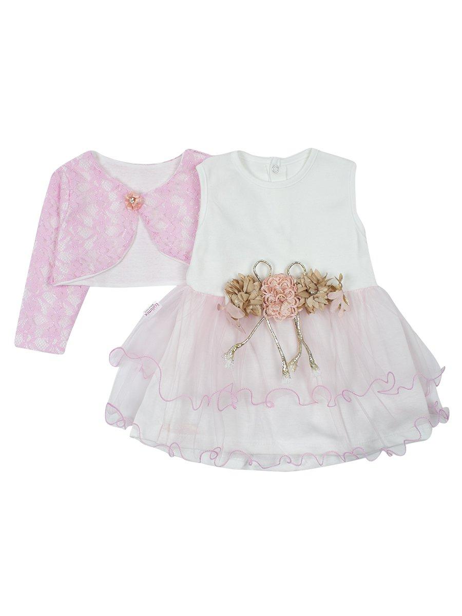 Комплект для девочки платье и болеро., цвет: светло-розовый
