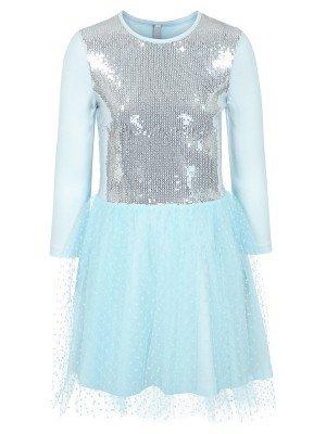 Платье из кулирки с лайкрой, пайеток и сетки