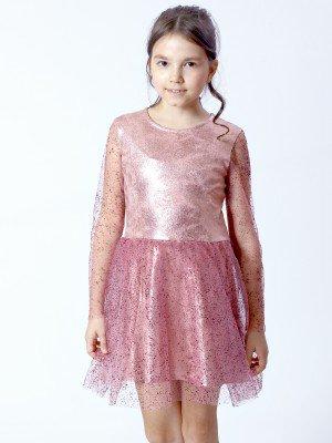 Платье из трикотажа с люриксом и сетки