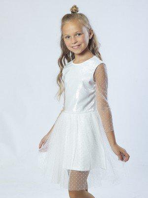 Платье из трикотажа с люриксом, кулирки с лайкрой и сетки