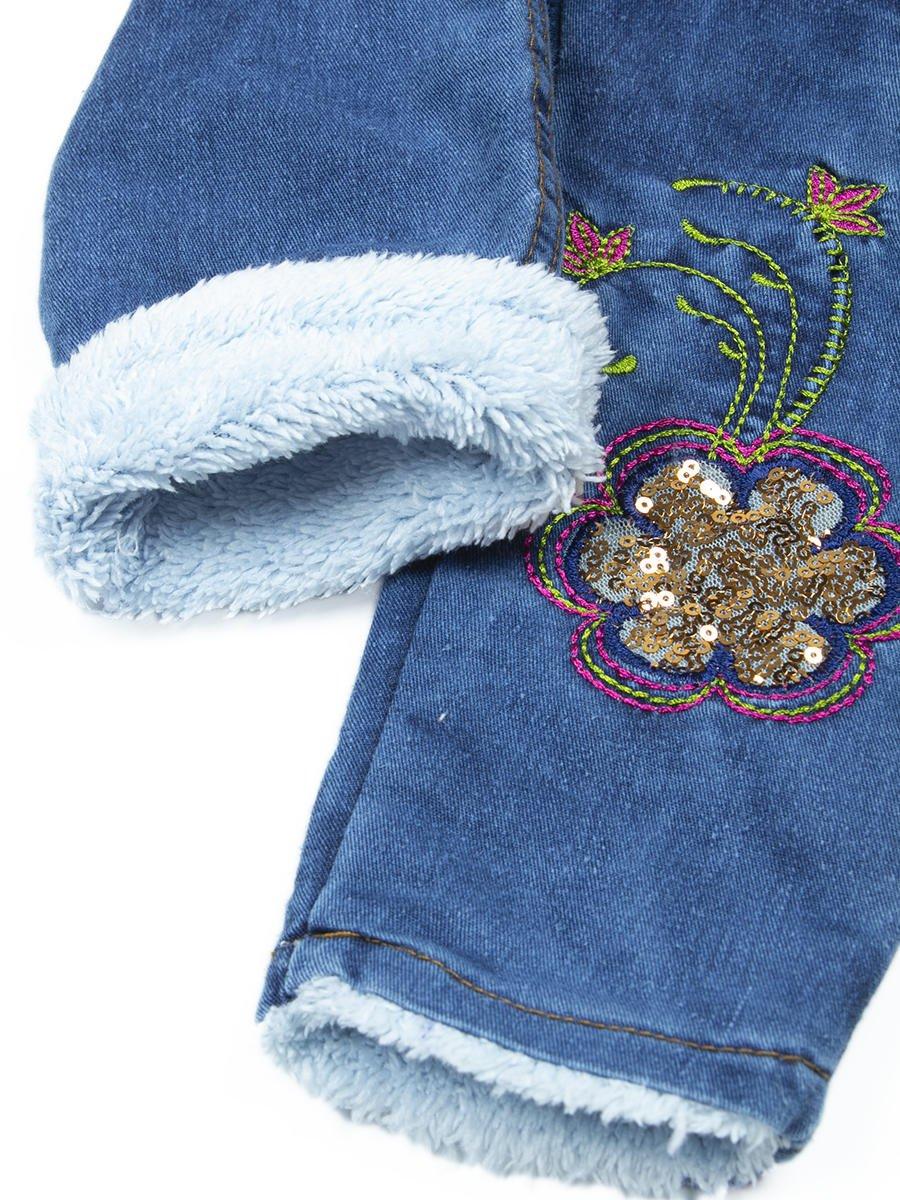 Брюки джинсовые на махровой подкладке для девочки, цвет: золотой