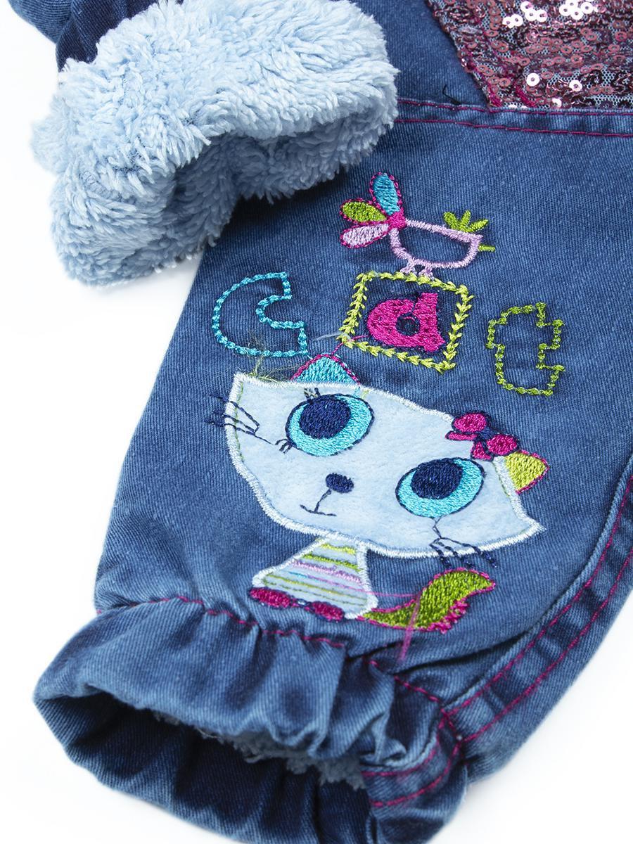 Брюки джинсовые на махровой подкладке для девочки, цвет: розовый