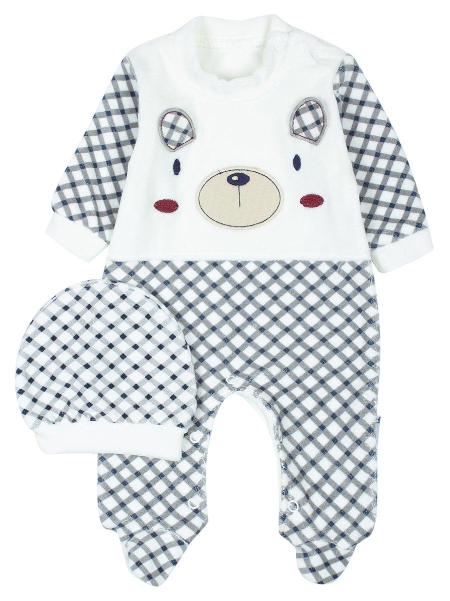 Комбинезон велюровый детский, цвет: серый