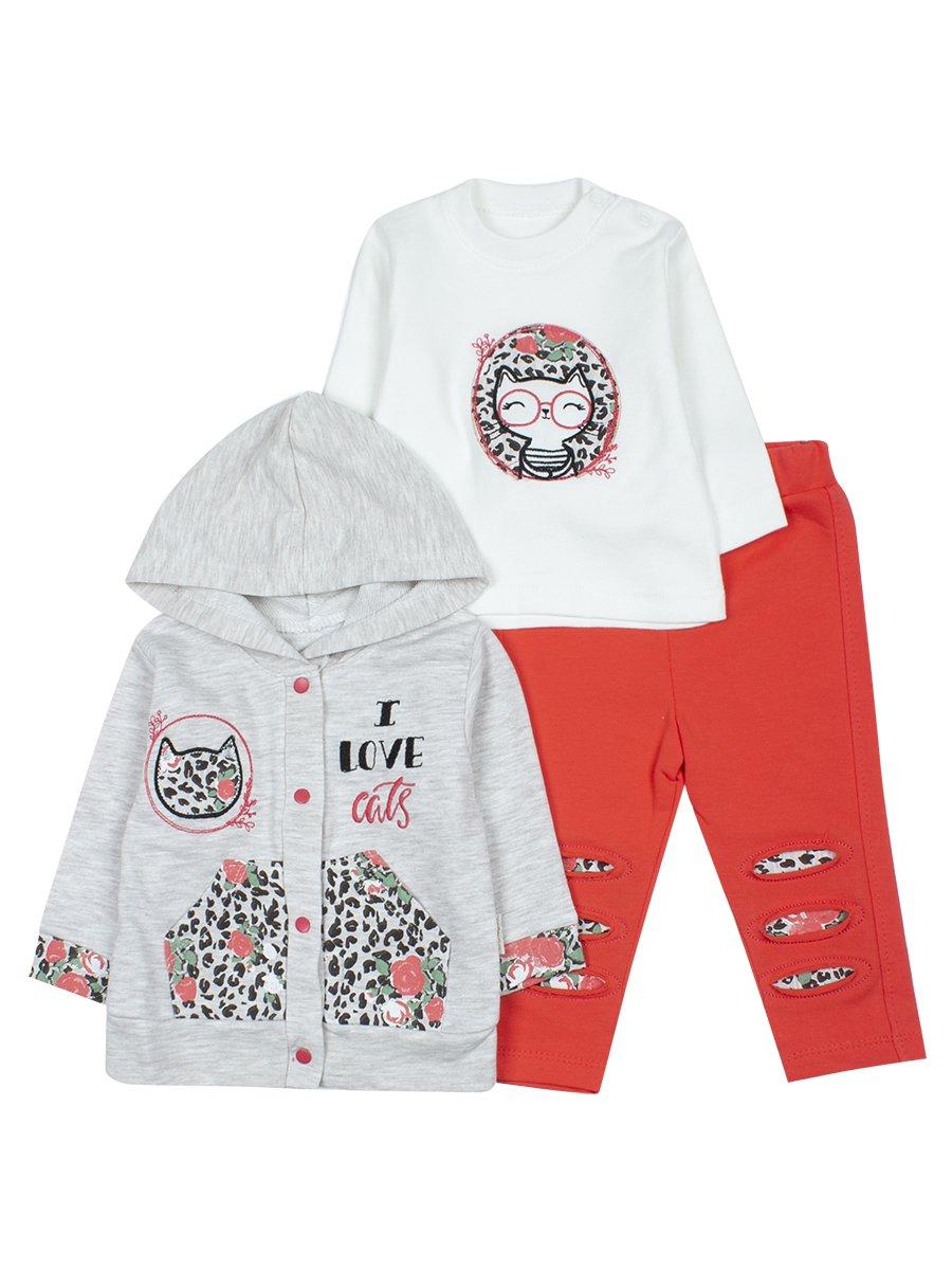 Комплект для девочки: кофточка, леггинсы и толстовка на кнопках с капюшоном, цвет: коралловый