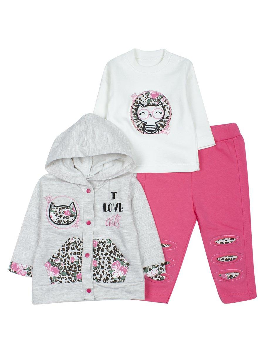 Комплект для девочки: кофточка, леггинсы и толстовка на кнопках с капюшоном, цвет: розовый