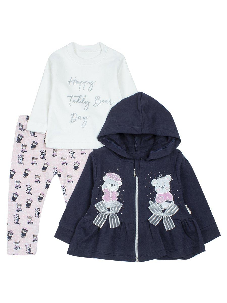 Комплект для девочки: кофточка, лосины и кардиган на молнии с капюшоном., цвет: светло-розовый