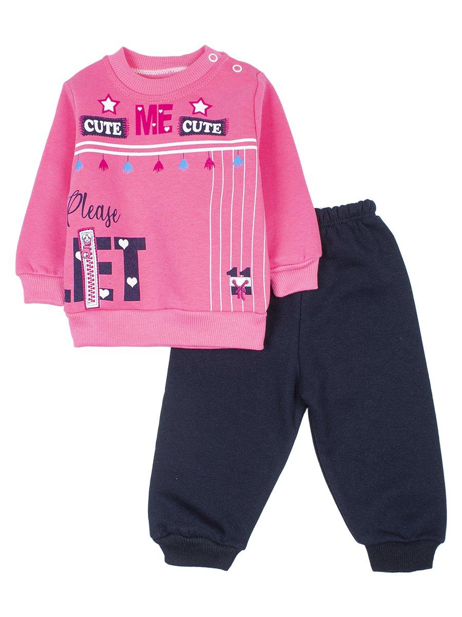 Комплект с начесом для девочки, цвет: розовый