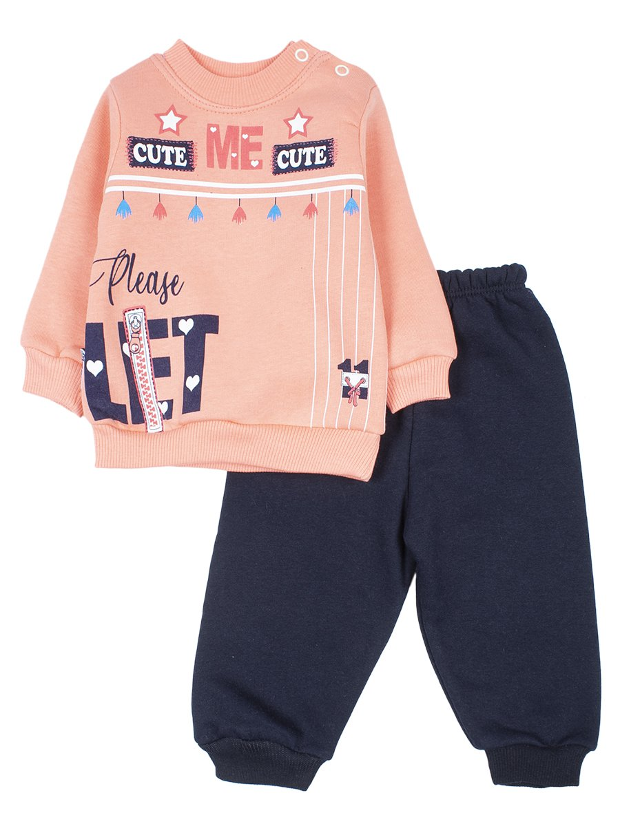 Комплект с начесом для девочки, цвет: персиковый
