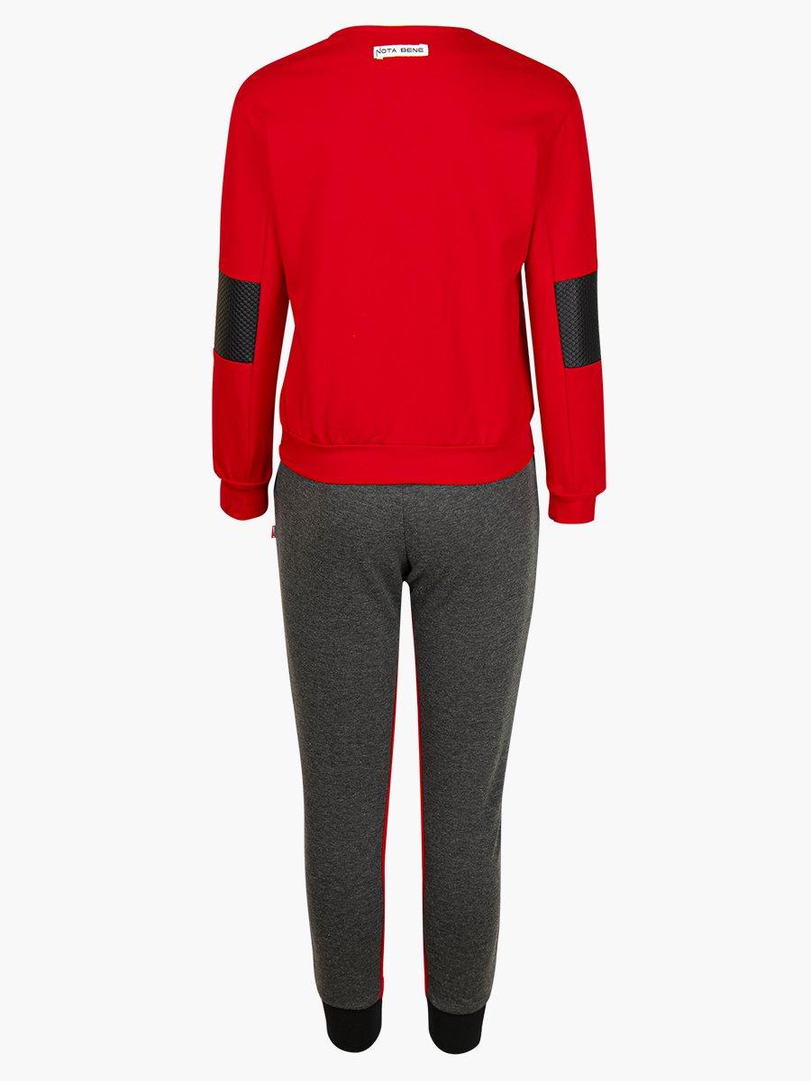 """Костюм спортивный: толстовка """"косуха"""" и брюки прямые со средней посадкой, цвет: красный"""