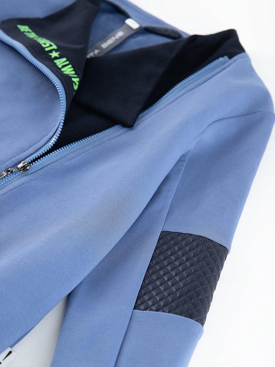 """Костюм спортивный: толстовка """"косуха"""" и брюки прямые со средней посадкой, цвет: синий"""