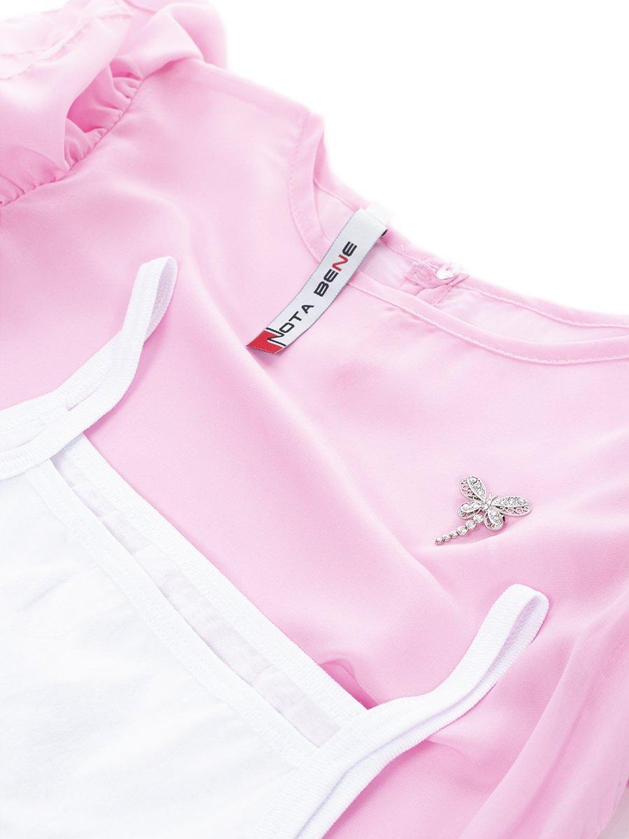 Блузка,Топ прямого силуэта, цвет: светло-розовый