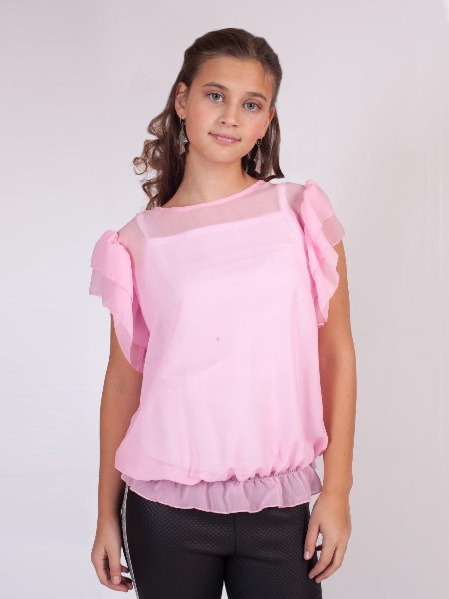 Блузка текстильная из крепшифона, цвет: светло-розовый