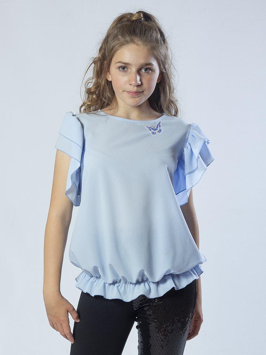 Блузка,Топ прямого силуэта, цвет: голубой
